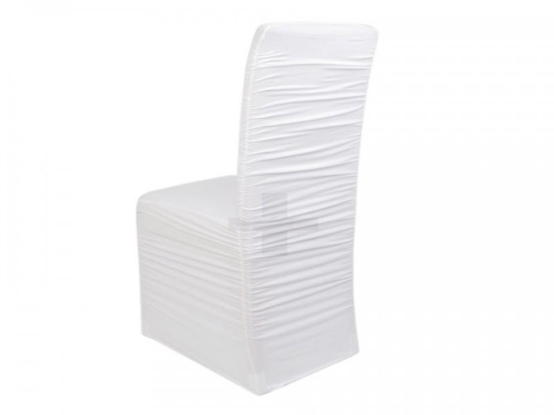 Elasztikus székhuzat redőzött - Fehér