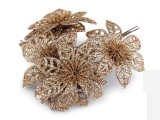Karácsonyi virág glitterekkel - Arany Lakástextil