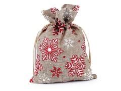 Ajándék karácsonyi / mikulás zsákocska pehellyel és glitterrel 13x18 cm juta imitáció Doboz,zsákocska