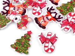 Fa díszgomb karácsonyi - 10 db/csomag