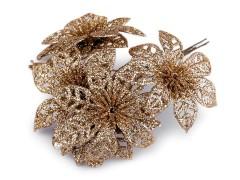 Karácsonyi virág glitterekkel - Arany Virág, toll, növény