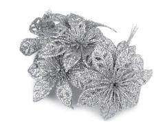 Karácsonyi virág glitterekkel - Ezüst Virág, toll, növény