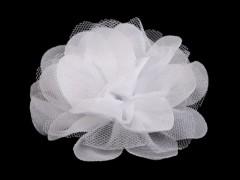 Szifon virág 80 mm - Fehér Medál-, bross