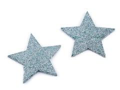 Csillámos csillag - 12 db Fa,üveg dísz-, kellék