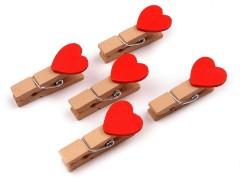 Csipesz szív csomag piros - 10 db Fa,üveg dísz-, kellék
