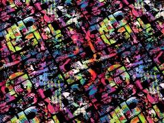 Elasztikus pamutanyag - Betű minta