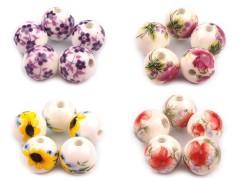 Porcelán gyöngyök virágokkal - 5 db/csomag Gyöngy-,gyöngyfűző