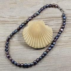 Barokk fekete igazgyöngy nyaklánc - 42 cm Nyaklánc, -kellék