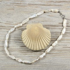 Biwa igazgyöngy nyaklánc 42 cm - Fehér Nyaklánc, -kellék
